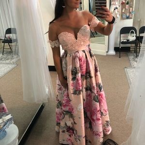Blush Lace Off Shoulder Gown with Floral Skirt